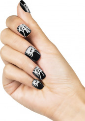 Faux ongles adhésifs araignées femme Halloween