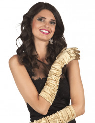 Gants longs satinés dorés femme