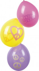 6 Ballons Hippie Flower Power 25 cm