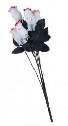 Bouquet de 6 roses blanches sanglantes en tissu 54 cm Halloween