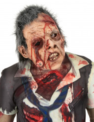 Masque luxe latex zombie œil sanglant avec cheveux adulte Halloween