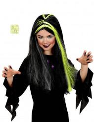 Perruque sorcière noire et blanche phosphorescente fille Halloween