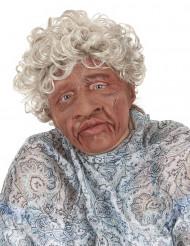 Masque latex grand-mère avec cheveux et bouche articulée adulte