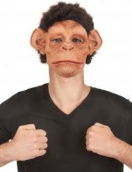 Masque luxe latex chimpanzé avec poils et bouche articulée adulte