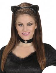 Serre-tête oreilles de chat noires adulte