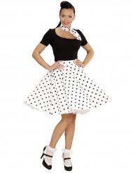 Jupe et foulard blancs à pois années 50 femme