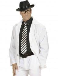 Cravate rayée noire et blanche adulte