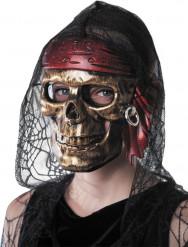 Masque tête de mort pirate doré adulte