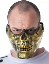 Demi masque tête de mort dorée adulte