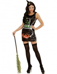 Déguisement sorcière paillettée chaudron femme Halloween