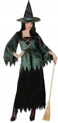 Déguisement sorcière verte velours et noire femme Halloween