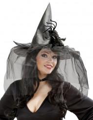 Chapeau sorcière avec tulle et araignée femme Halloween
