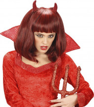 Perruque mi-longue démon rouge femme Halloween