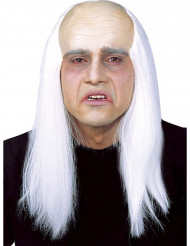 Perruque crâne dégarni avec cheveux blancs adulte
