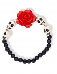 Bracelet squelettes et rose rouge adulte