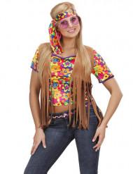 Veste hippie marron à franges femme