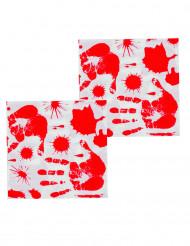 12 Serviettes en papier Mains ensanglantées 33 x 33 cm