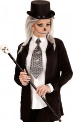 Cravate métallique têtes de mort adulte