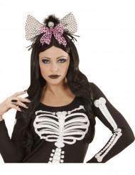 Serre-tête avec crâne et noeud rose femme Halloween