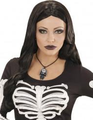 Collier crâne et pierre de cristal femme Halloween