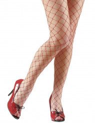 Collants résille rouges femme