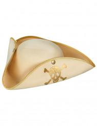 Chapeau pirate beige et doré femme