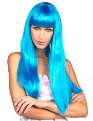 Perruque bleue longue  à frange femme