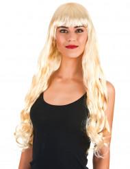 Perruque longue ondulée blonde avec frange femme