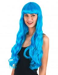 Perruque longue ondulée bleue aqua femme