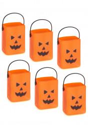 6 seaux à bonbons sachets citrouille Halloween