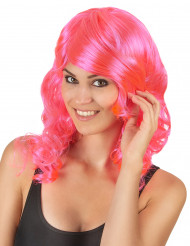 Perruque mi-longue glamourondulée rose femme