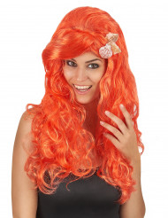 Perruque longue orange femme