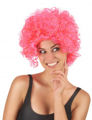 Perruque courte bouclée rose fluo femme