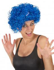 Perruque courte bouclée bleue femme