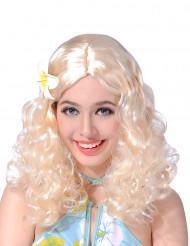 Perruque blonde fleur femme