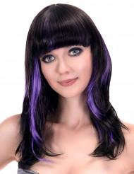 Perruque noire à frange avec balayage violet femme