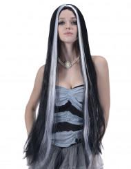 Perruque très longue noire et blanche femme - 90cm