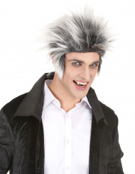 Perruque electrocuté noire et blanche homme