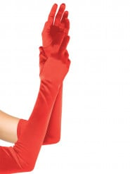 Gants satin extra long rouge