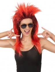 Perruque chanteuse de rock rouge et noire femme