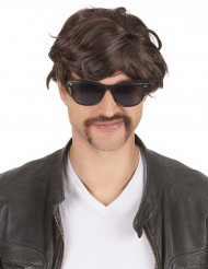 Perruque brune courte homme