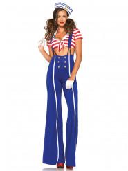 Déguisement marin pantalon bleu femme