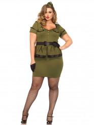 Déguisement militaire vert femme