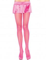 Collants résille rose fluo femme