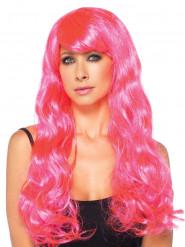 Perruque longue bouclée rose