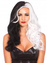 Perruque longue cruelle noire et blanche Premium femme