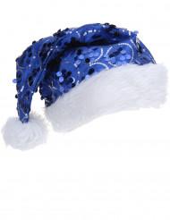 Bonnet pailletté bleu adulte Noël