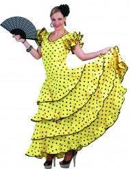Déguisement flamenco jaune à pois femme
