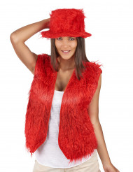 Gilet peluche rouge adulte