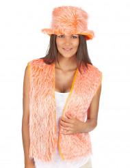 Gilet peluche orange adulte